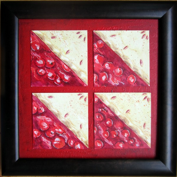 """Cherry Tarts"", mixed media by Kerry McFall"
