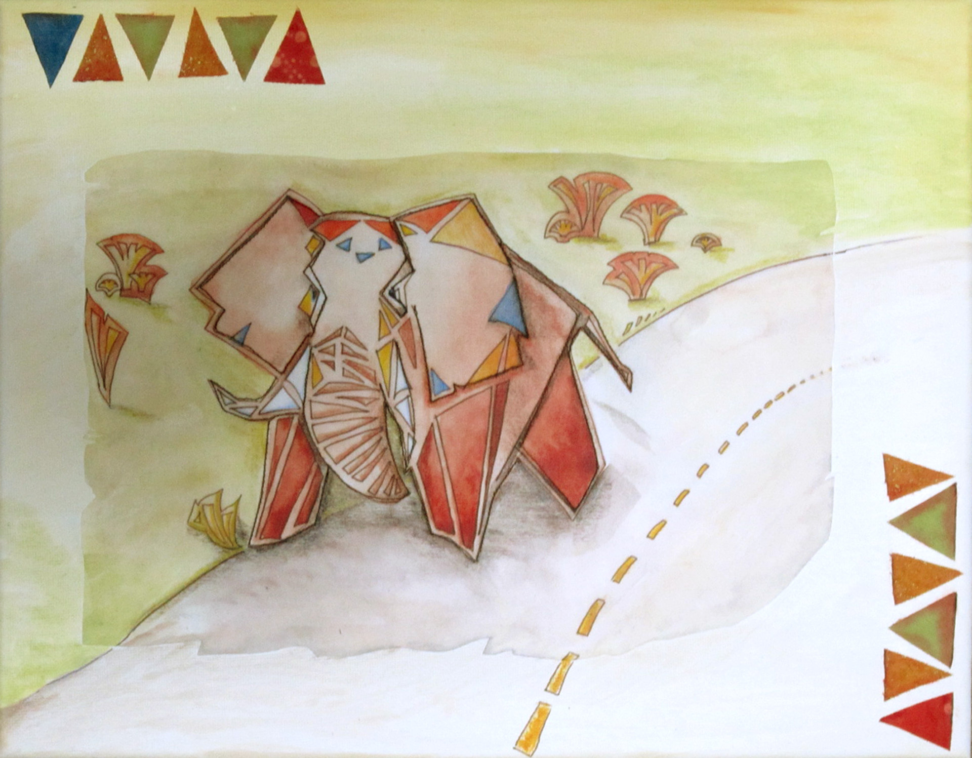 mixed media on canvas, geometric elephant