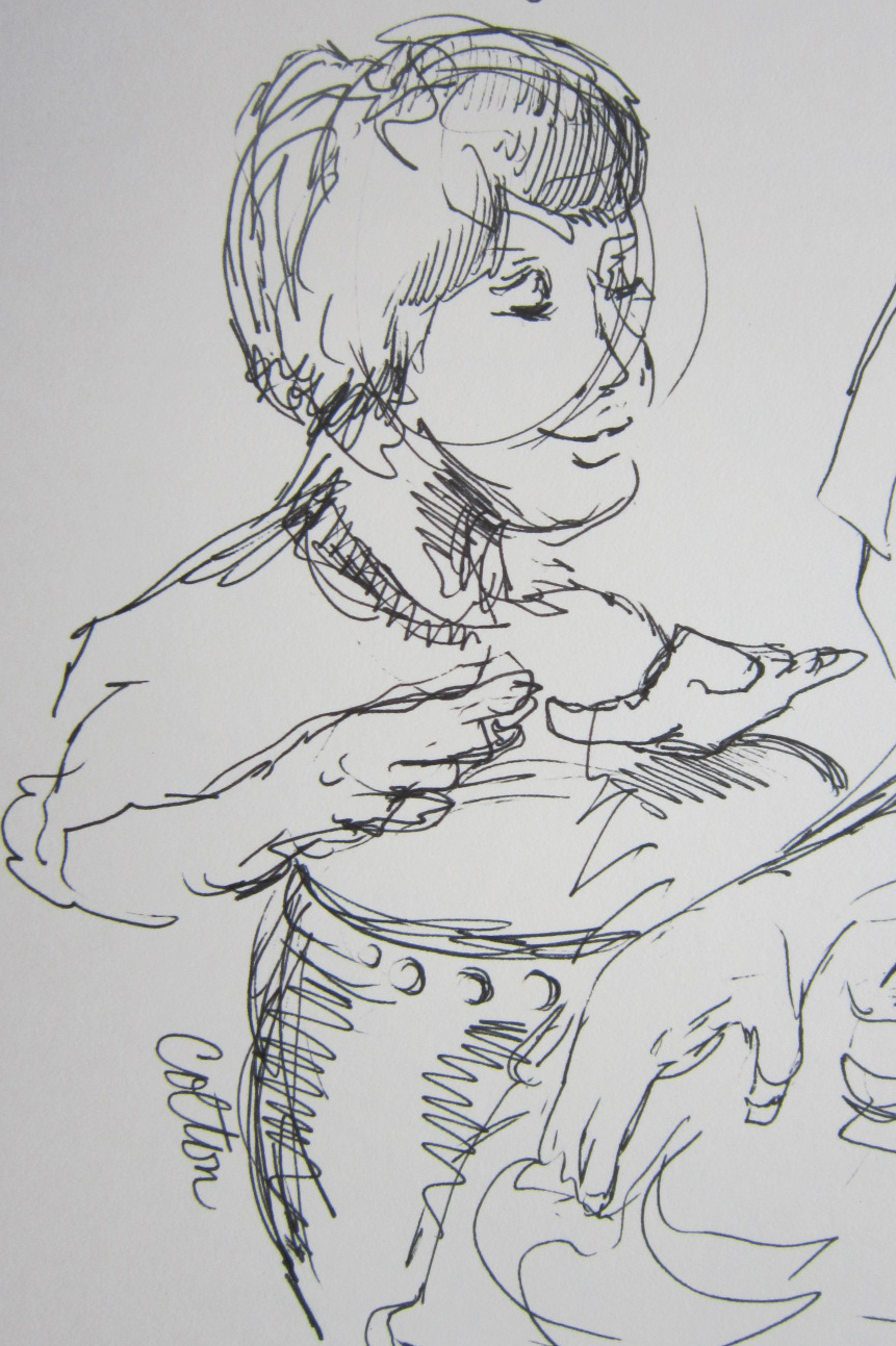 """Young Drummer"", ink sketch by Kerry McFall"