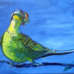 painting of a parakeet in a hat