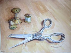 painting of scissors and thread spools