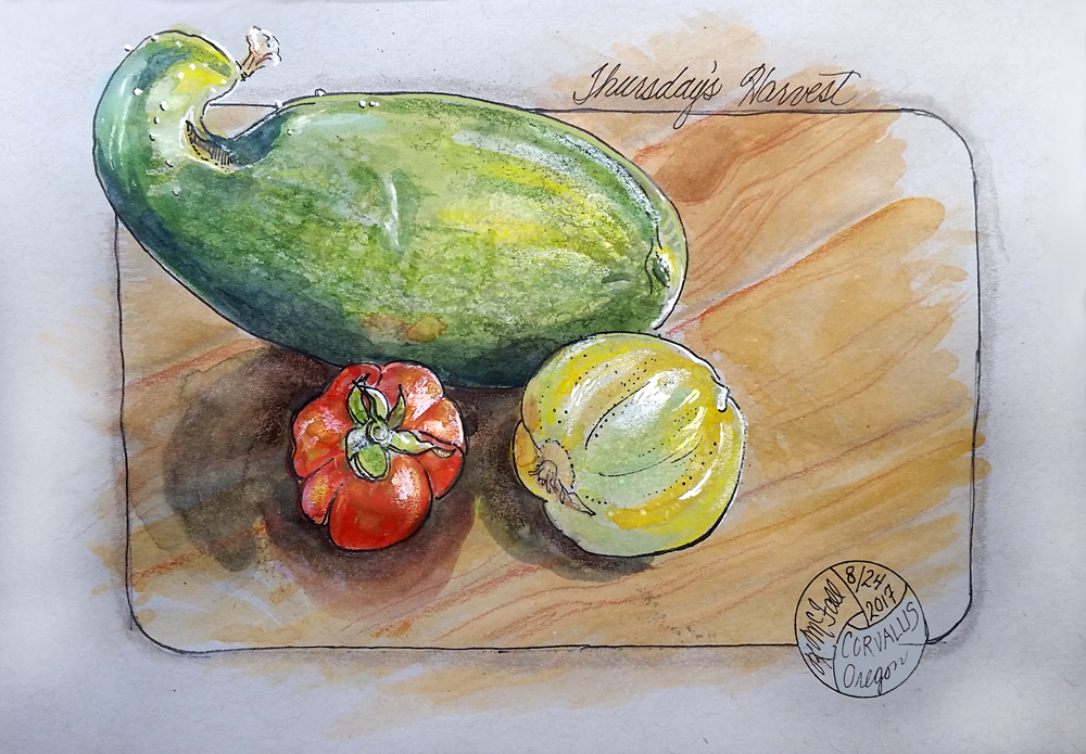 Painting of cucumbers and tomato
