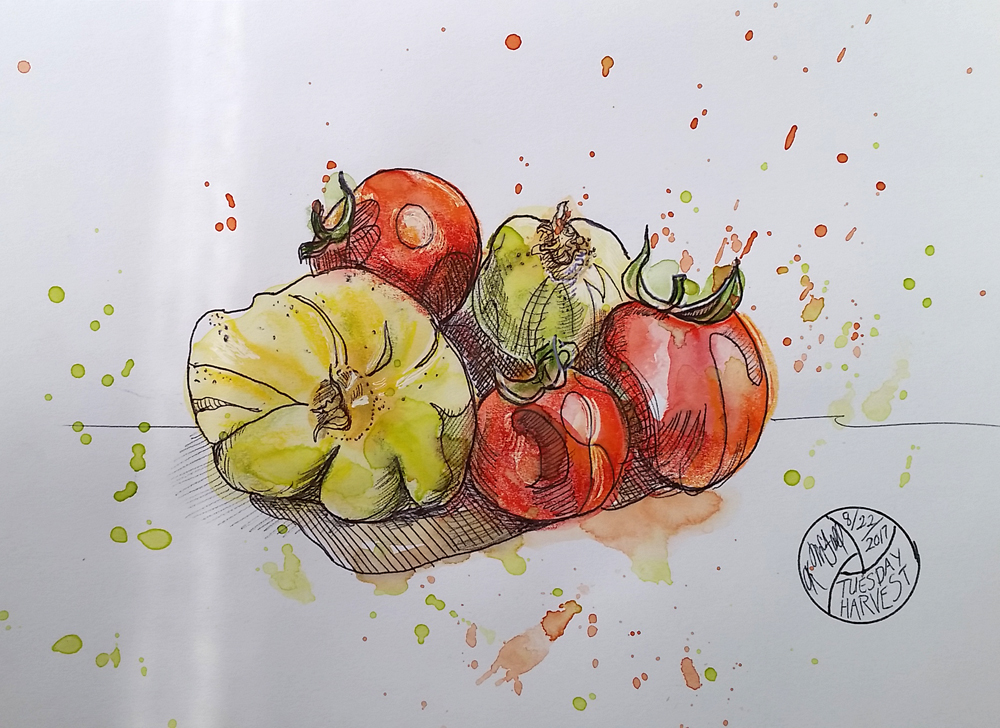 final version of watercolor of veggies