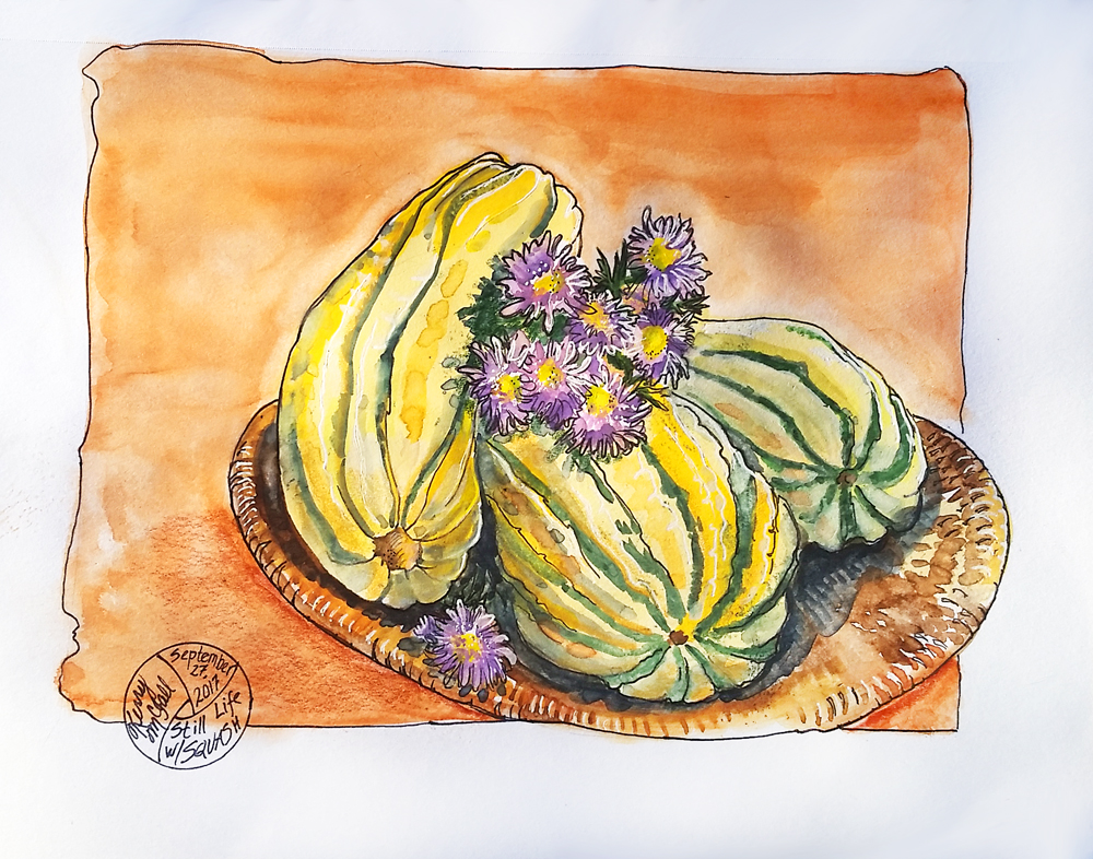 Yellow squash and purple flowers
