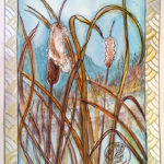 Painting of cattails with quilt-like border
