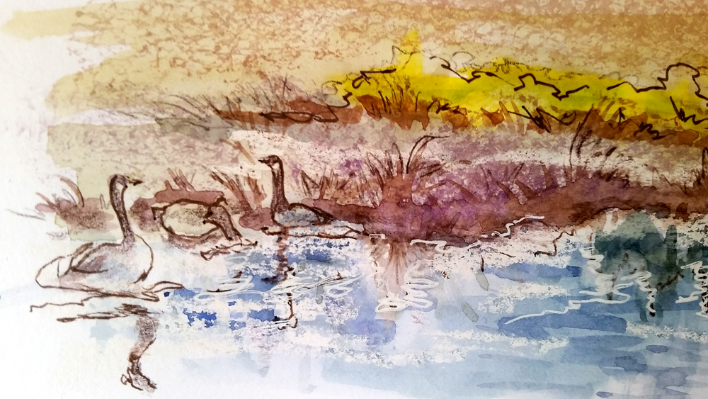 painting of geese in the marsh