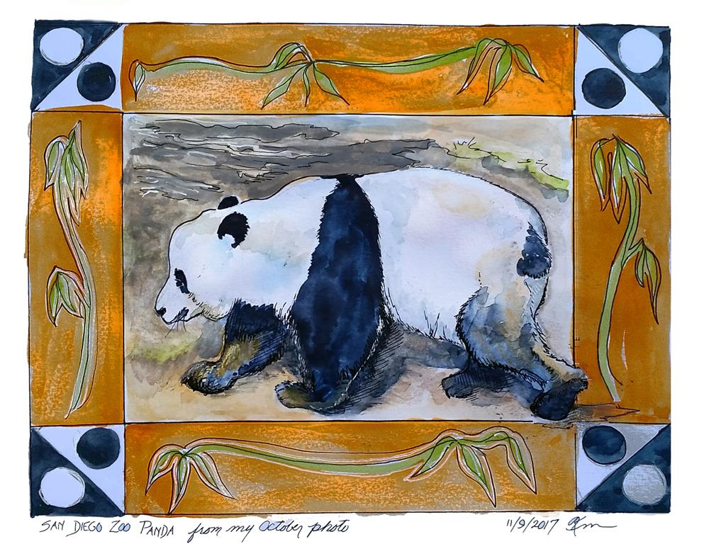 painting of panda bear