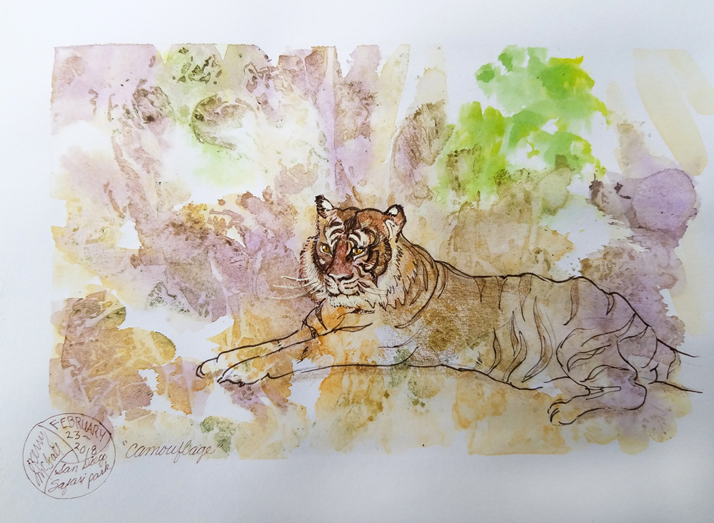 sketch of Bengal Tiger