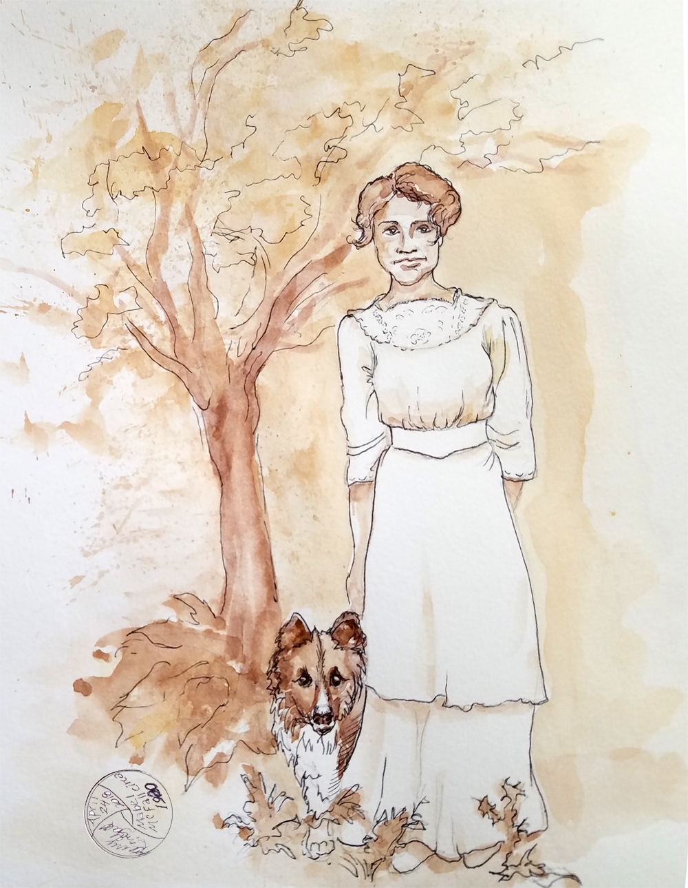 painting circa 1920 woman and dog