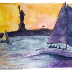 sun setting on Statue of Liberty, sialboats in foreground