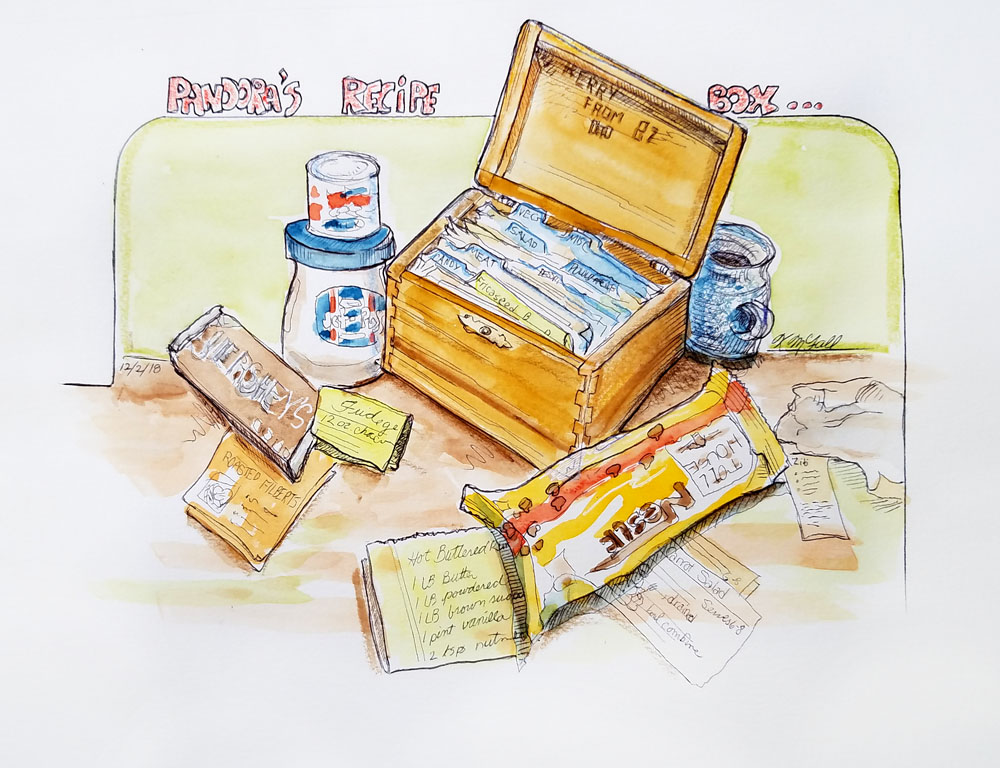 sketch of wooden box and recipes