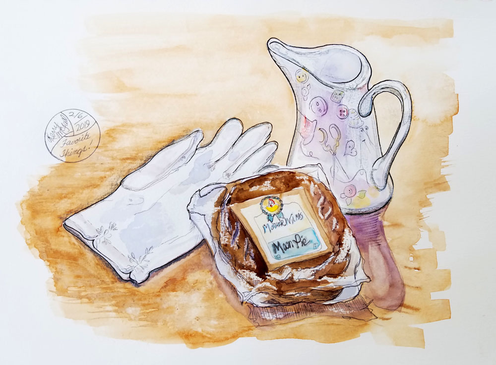 painting of glove, moon pie, and cream pitcher