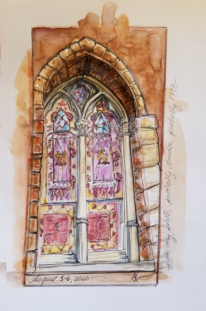 Painting of arched stained glass window