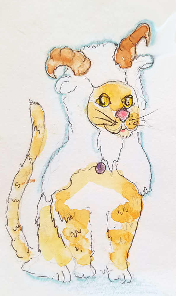 cartoon of cat in a goat costume